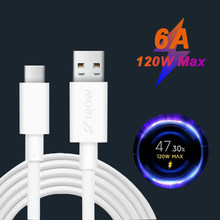 120W 6A USB Type-C Fast Charging Data Cable For XIAOMI Mi11 MI10 Mi9 MIX3 2S Redmi K40 K30 Pro K20 Note 10 9T 8 Pro 7 QC3.0 4.0