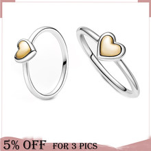 2021 Mothe's Day Fine 925 Sterling Silver Ring Two Tone Domed Golden Heart Ring For Women Original Jewelry Gift