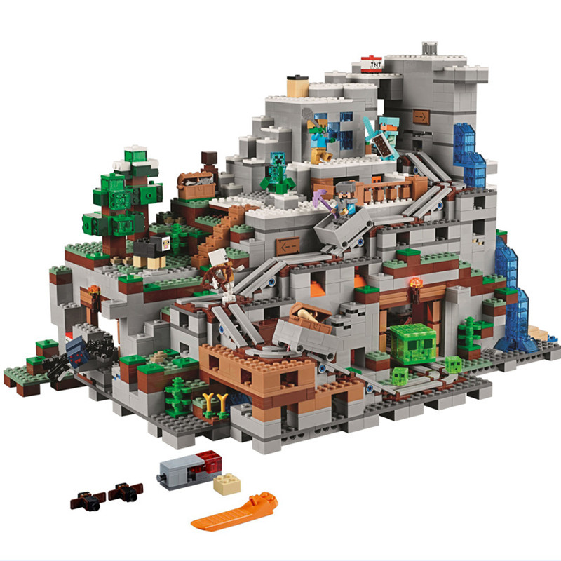 MyWorld In Stock Compatible Lepining Technic 21137 Toddlers Iron Golem Kids Toys 18032 Cave Building Blocks Brick