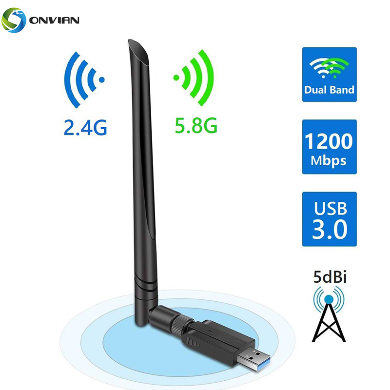 Onvian USB WiFi Adapter 1200Mbps 5dBi WiFi Dongle With Dual Band 2.4GHz 5.8GHz Wi-Fi USB Adapter USB Wireless Network Adapter