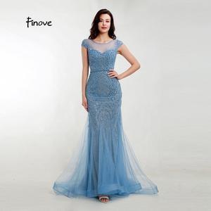 Image 1 - Akşam elbise zarif Mermaid 2020 gölgeli mavi Sparkly malzeme O boyun kap kollu tam boncuklu resmi kadın elbise Finove