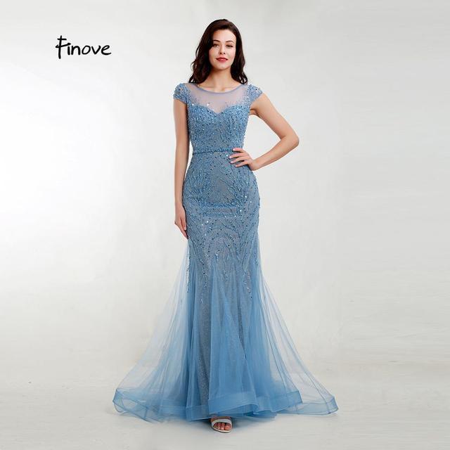 Akşam elbise zarif Mermaid 2020 gölgeli mavi Sparkly malzeme O boyun kap kollu tam boncuklu resmi kadın elbise Finove