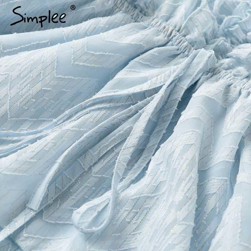 Женский синий комбинезон Simplee с оборками, женские летние шифоновые комбинезоны с V-образным вырезом, коротким рукавом и поясом, повседневные женские комбинезоны 2019