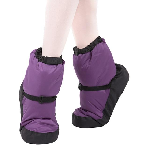 Kış bale ulusal dans ayakkabıları yetişkinler için Modern dans pamuk ısınma egzersizleri isıtıcı balerin çizmeler