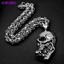AMUMIU Männer Große Schädel Halskette Edelstahl für Männer Indische Chiefs Halsketten & Anhänger Punk Anhänger Schmuck Zubehör P076