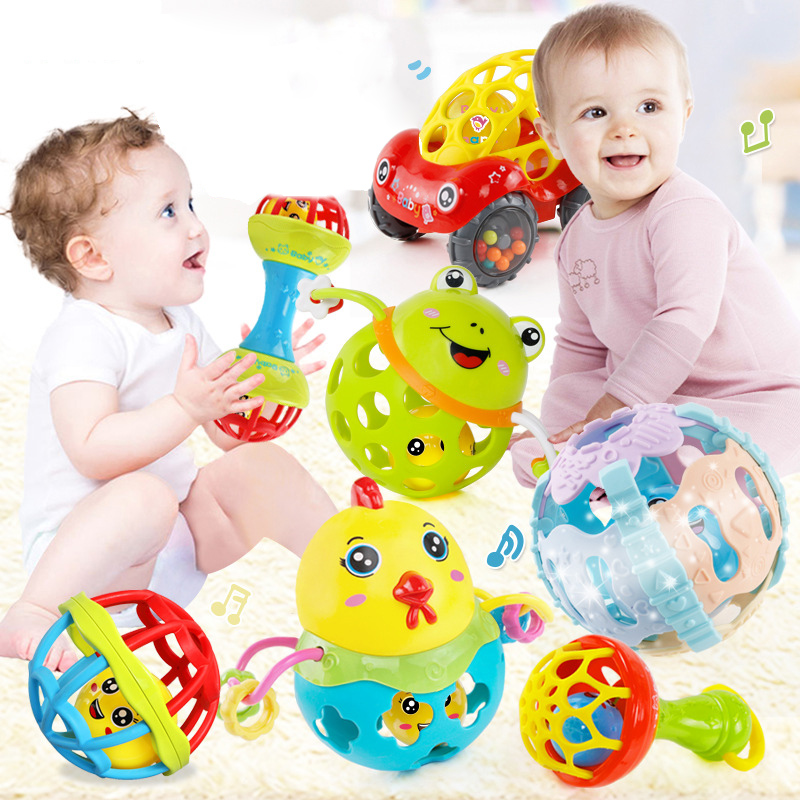Baby Rattles Toy Cars Soft Plastic Baby Teether Hand Grasping Ball Toys Rattle Early Educational Hand Bell Baby Toys 0-12 Months