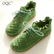 Купить с кэшбэком OQC New Women's Lace Up Flat Shoes European American Solid Color Low Flat Knit Bud Casual Round Toe Wild Style Single Shoes D25