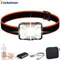 6000лм светодиодный налобный фонарь с usb-кабелем перезаряжаемый головной светильник COB T6 светодиодный налобный светильник водонепроницаемый...