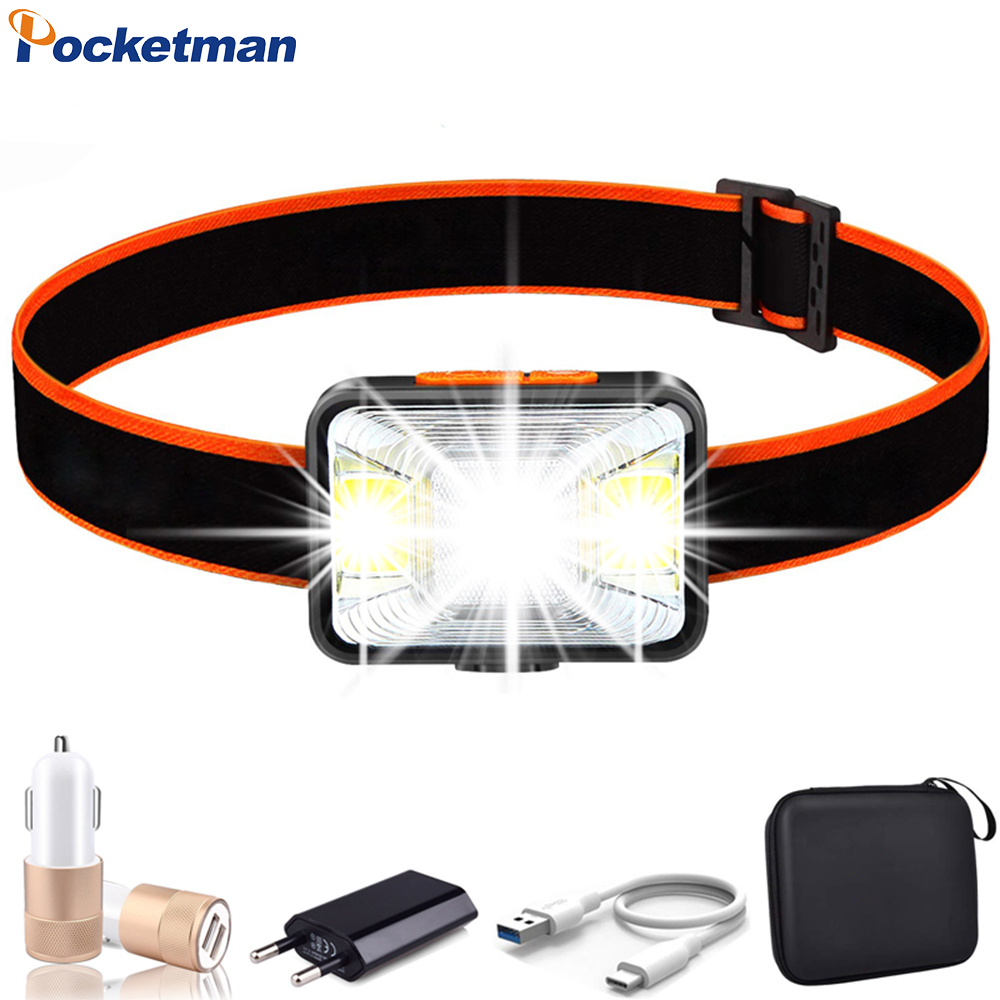 6000LM LED Headlamp USB Cable Rechargeable Headlight COB T6 LED Head Light Waterproof Head Lamp With Built-in Battery Camping
