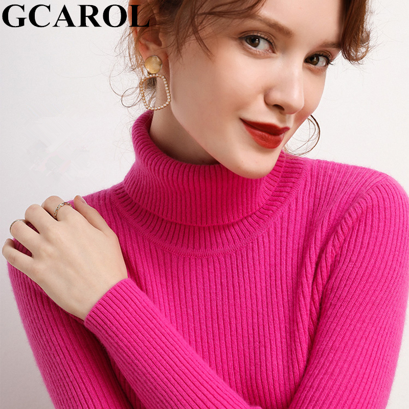 GCAROL Fall Winter Women Turtleneck Cashmere Sweater 30% Wool Warm Stretch Candy Jumper Ladies Render Base Knitted Pullover 2XL Pullovers    - AliExpress