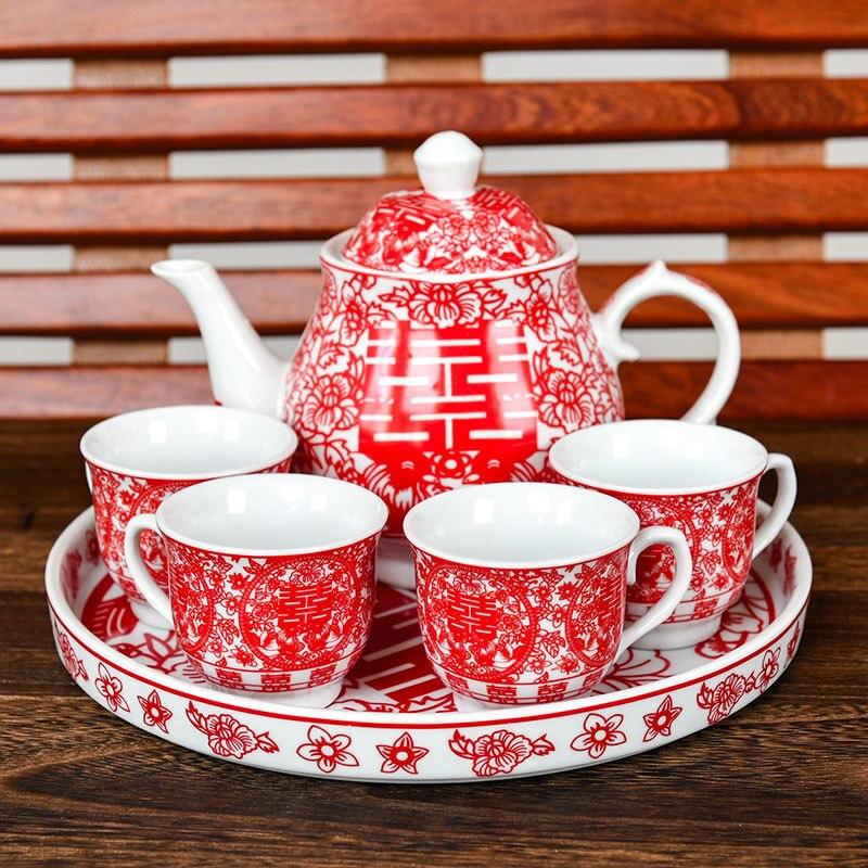 중국어 웨딩 찻 주전자 찻잔 홍차 주전자 컵 그릇 세트 세라믹 teaware 크리 에이 티브 기쁨 신부 선물 dowry 결혼 축하