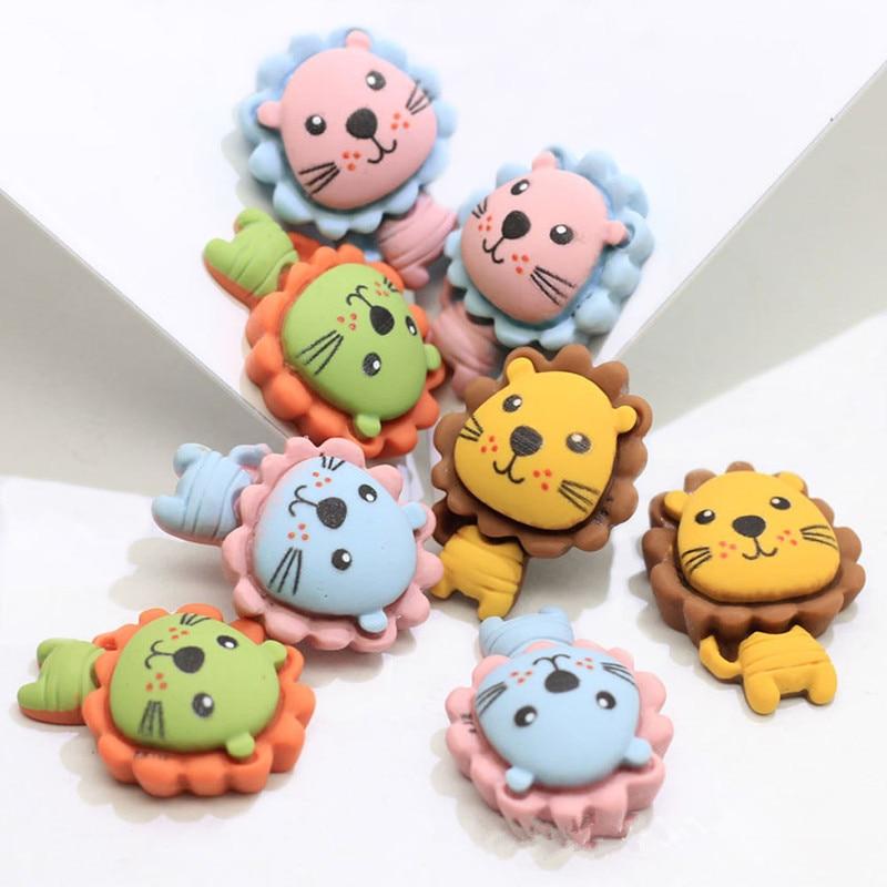 10Pcs Cartoon Lion Flat Back Resin Cabochons Kawaii Animal Flatback Cabochon DIY Hair Bows Center Phone Decoration Accessories