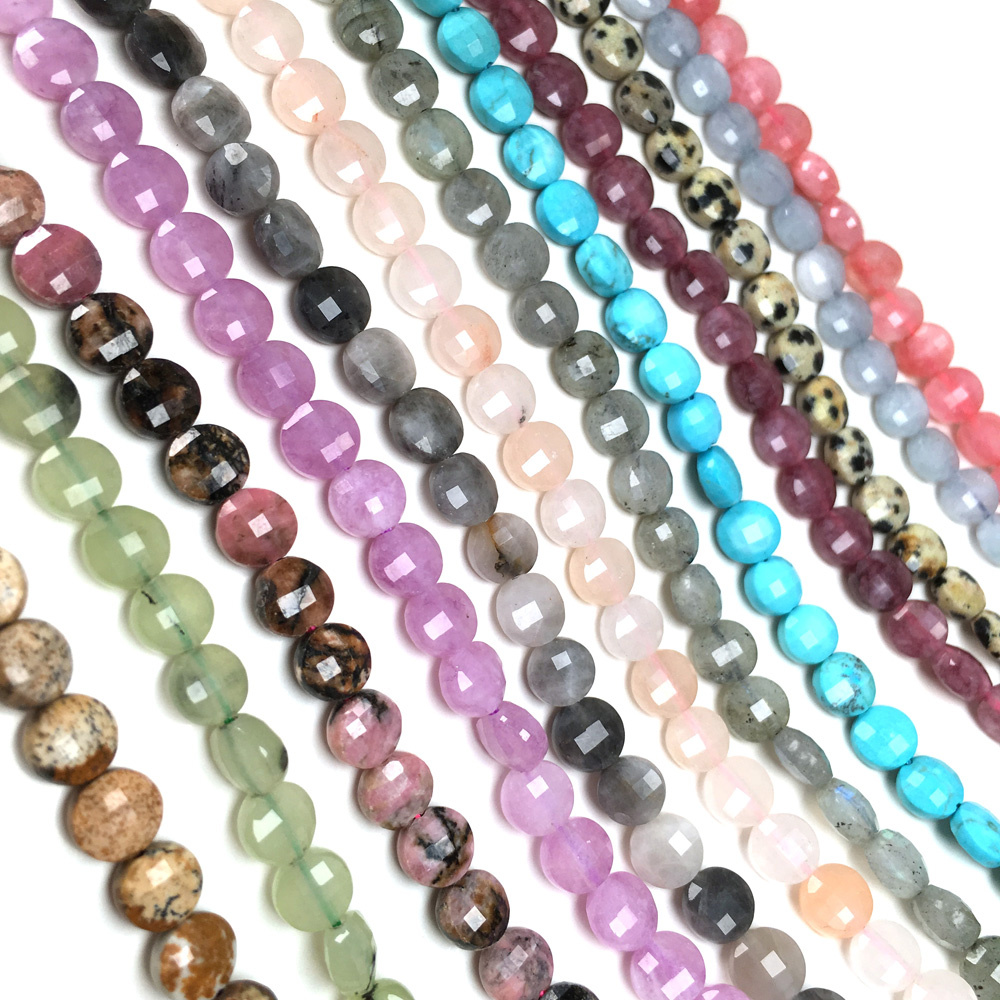 Natural Stone Faceted Flat Loose Beads Charms Agates Small Gem Bead For Jewelry Making DIY Bracelet Necklace Accessories