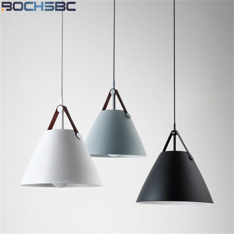 BOCHSBCB lampe suspension nordique une tête lampes suspendues avec ceinture en cuir lampes suspendues noires éclairage pour chambre salon salle à manger