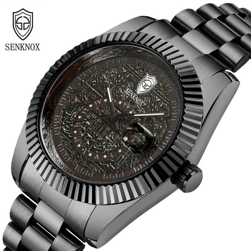 luxury mens wristwatches quartz black stainless steel man watches waterproof calendar fashion men clocks SENKNOX brand