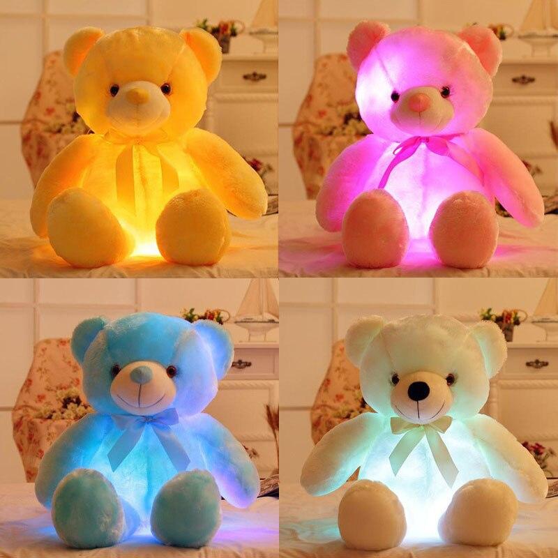 30cm Romantic Colorful Flash Light Up LED Teddy Bear Plush Toy Kids Toys Children Christmas Birthday Decoration