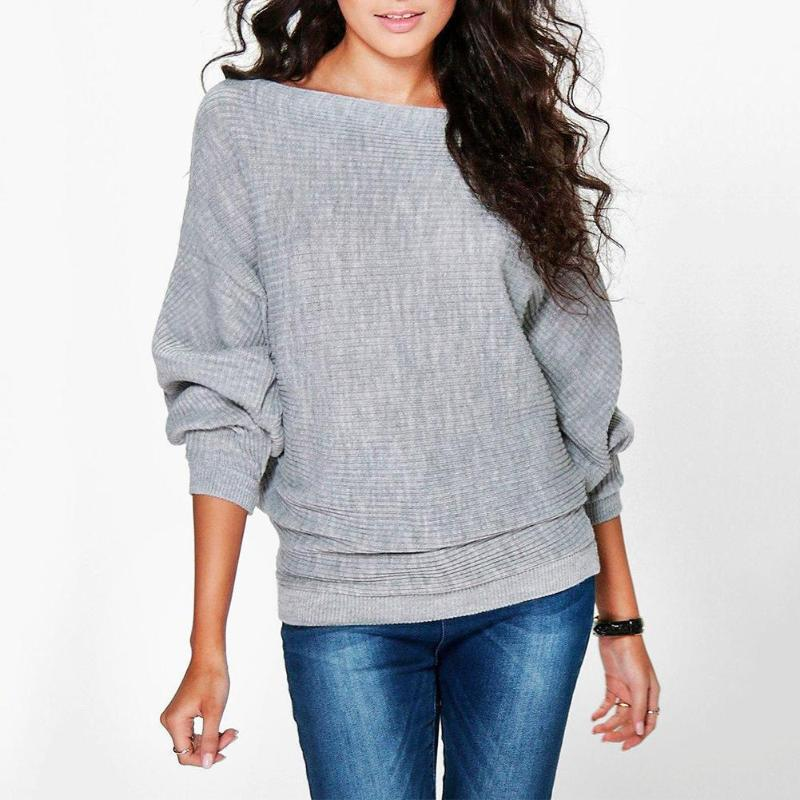 Fashion Loose Bat Sleeve Women Knit Sweater Stretch Solid Color Pullovers