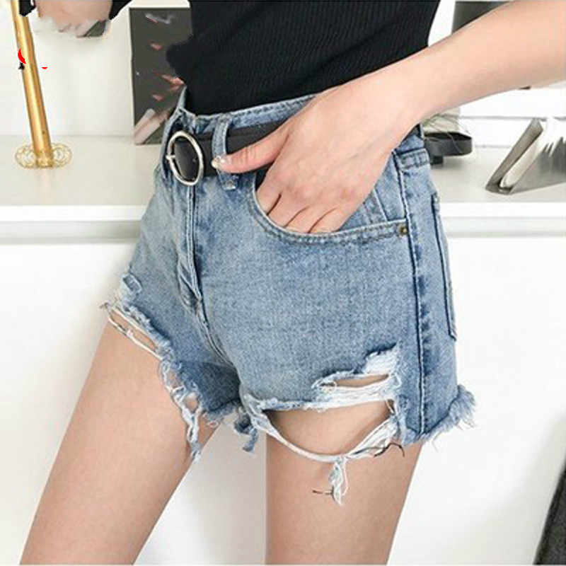2020 NEW Plus Size Sexy Nero Jean Shorts Delle Donne delle Donne di Estate Denim Shorts Blu Distressed Vita Alta Shorts Strappato dei Jeans