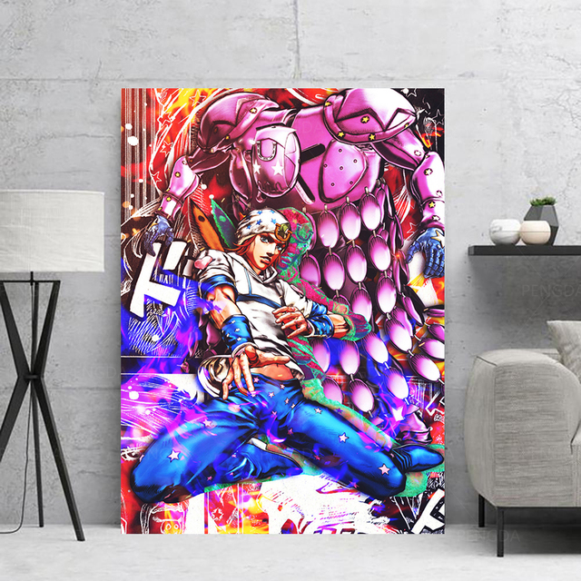 Canvas HD Prints Colorful Painting Jojo S Bizarre Wall Art Graffiti Poster Anime Role Home Decor Pictures For Bedroom Modular 2