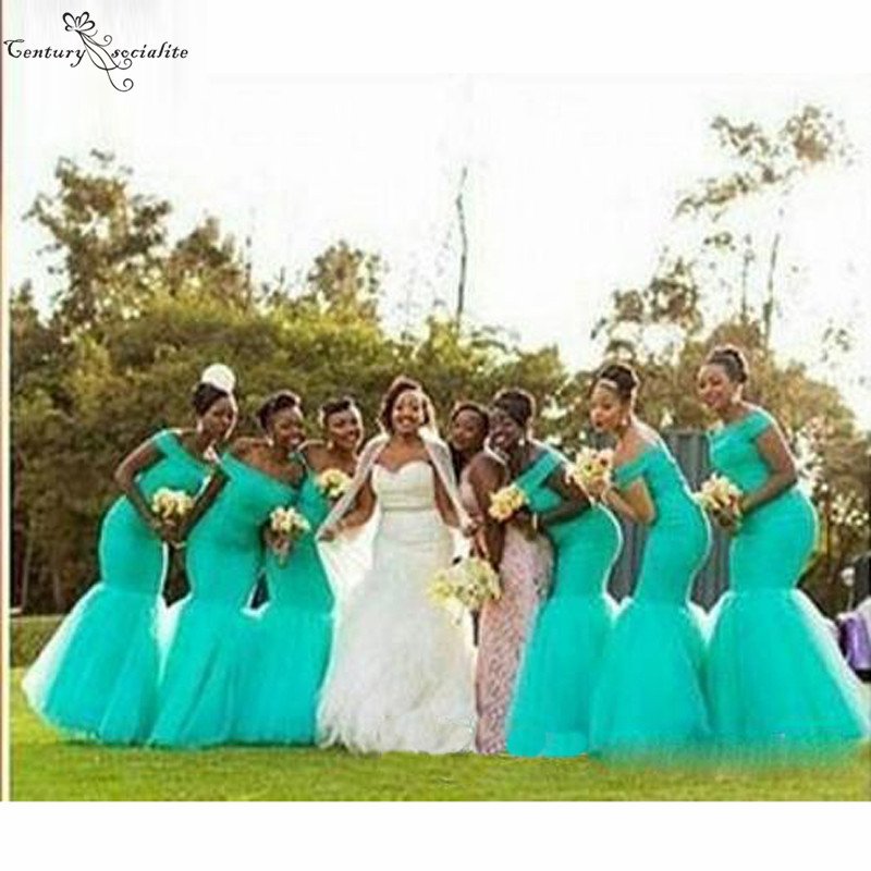 Long Bridesmaid Dresses Mermaid 2020 Wedding Guest Dress Maid Of Honor Gowns Off Shoulder Turquoise Lace Wedding Party Gown