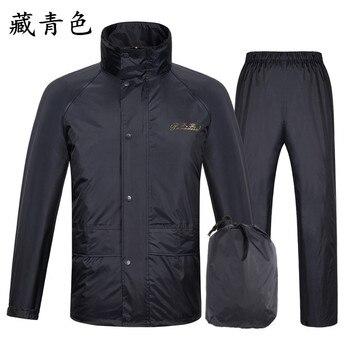Waterproof Raincoat Jacket Pants Nylon Adult Set Stylish Black Raincoat Men Set Waterproof Poncho Impermeable Travel Coat JJ60YY