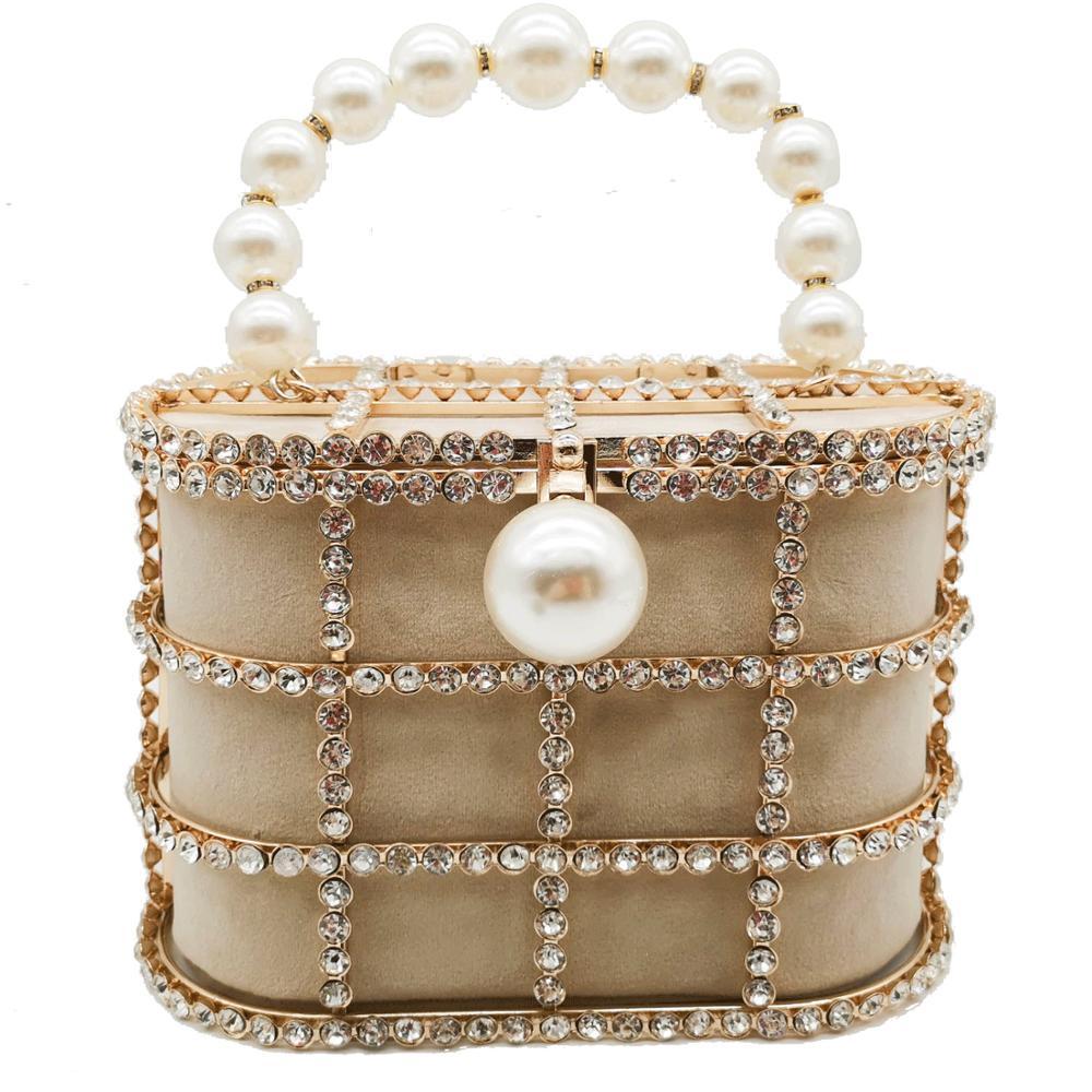 Boutique De FGG Pearl Top-Handle Women Totes Bag Gold Bucket Bags Metal Clutches Crystal Evening Purses Wedding Bridal Handbags