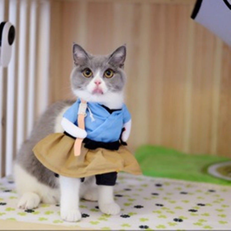 Funny Cat Dog Costume Uniform Suit Cat Clothes Costume Puppy Clothes Dressing Up Suit Party Clothing For Cat Cosplay Clothes 4