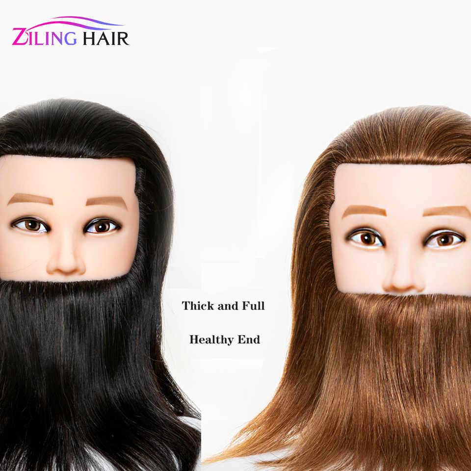 ชาย 100% real Human hair Mannequin การฝึกอบรมหัวเคราตัดผม hairdressing manikin Doll สำหรับโรงเรียนความงาม