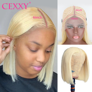 CEXXY 613 Blonde Wig Brazilian Straight Human Hair Bob Wigs 8 - 16 Inch Remy T Part Lace Short Bob Lace Front Wigs for Women(China)