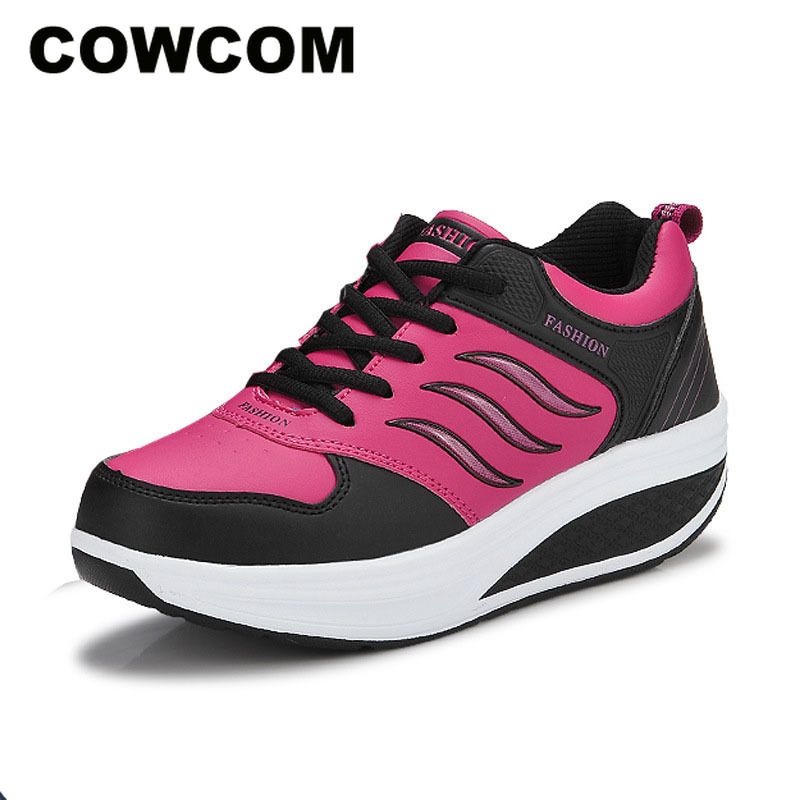 COWCOM Spring Autumn Leather Ladies Sports Shoes Thick Bottom Muffin Rocker Shoes Womens Leisure Travel Running Shoes CYL 875Womens Vulcanize Shoes   -