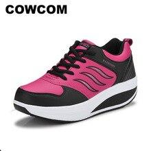 COWCOM Zapatos Deportivos de piel para mujer, zapatillas deportivas de suela gruesa para primavera y otoño, zapatos de ocio para correr, CYL 875