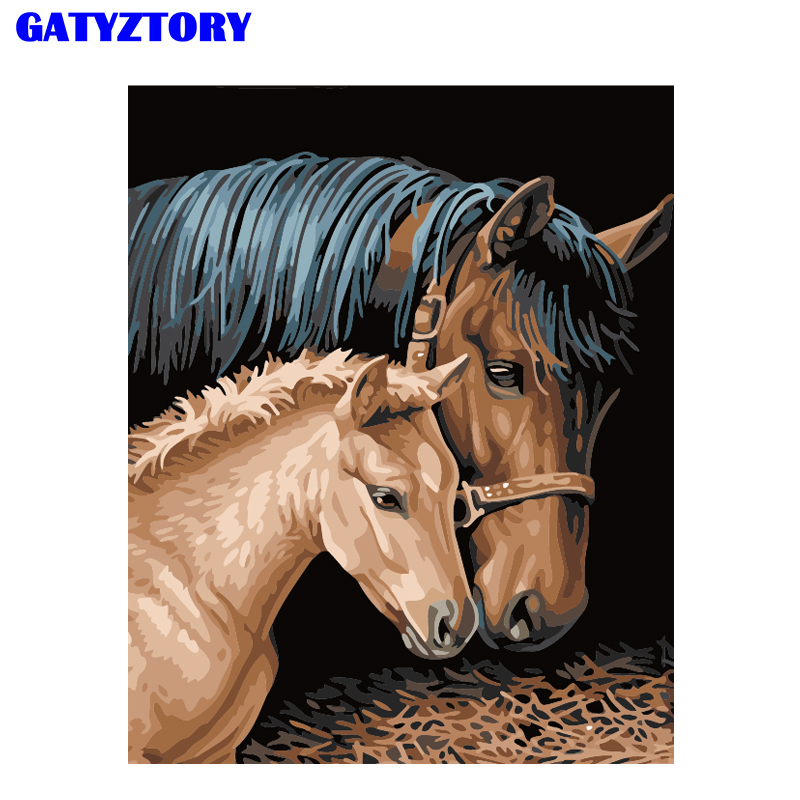 GATYZTORY Picture Frame DIY Painting By Numbers Horse Animals Kit Paint By Numbers Acrylic Paint On Canvas For Home Decoration