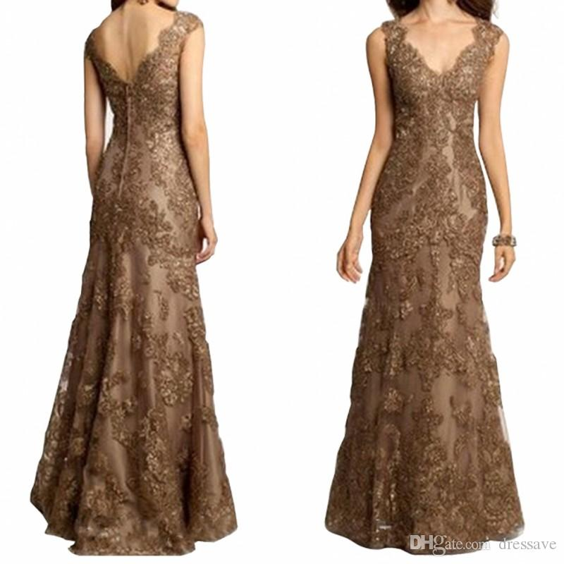 Mother Of The Bride Dresses Elegant V Neck Floor Length Beaded Lace Appliques Mermaid Evening Gowns Custom Made