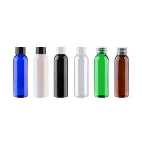 60ml rodada transparente vazio garrafa de viagem de plastico de garrafas pet com tampa de
