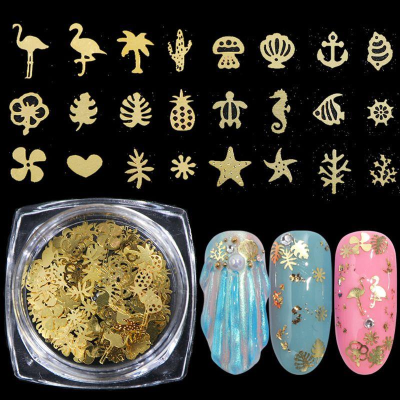 6 Pcs/set Fashion Popular Nail Art Jewelry Making Filling Material DIY Nails Sticker Epoxy Metal Filler