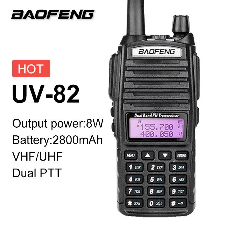 2019 8W BAOFENG UV-82 Plus 8W 10KM Walkie Talkie Station CB VHF/UHF Marine Ham Radio Two Way Radio Amador 8 Watts Of UV82 Plus