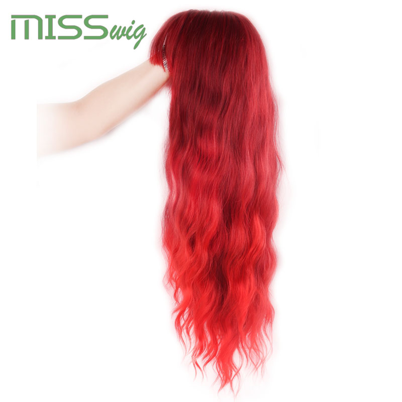 Image 4 - MISS WIG Long Wavy Wigs for Black Women African American Synthetic Hair red Brown Wigs with Bangs Heat Resistant WigSynthetic None-Lace  Wigs   -