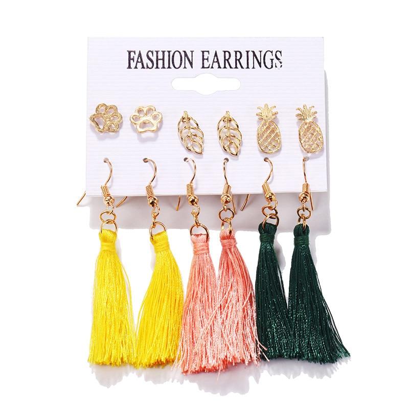 Bohemian Tassel Shell Big Dangle Earrings Set For Women Acrylic Geometric Drop Earring Brincos Female Boho DIY Jewelry