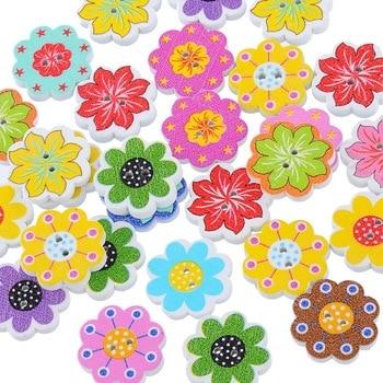 Lote de 50 unidades de botones de madera en forma de flor con pintura de flores para ropa, botón de madera para coser en tarjeta de decoración de regalo