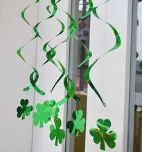 6 Pcs Sets Irish Festival Drop Ornamente Spirale St patricks Tag Swirl Urlaub Hängende Dekoration Glück Vier-blatt clover
