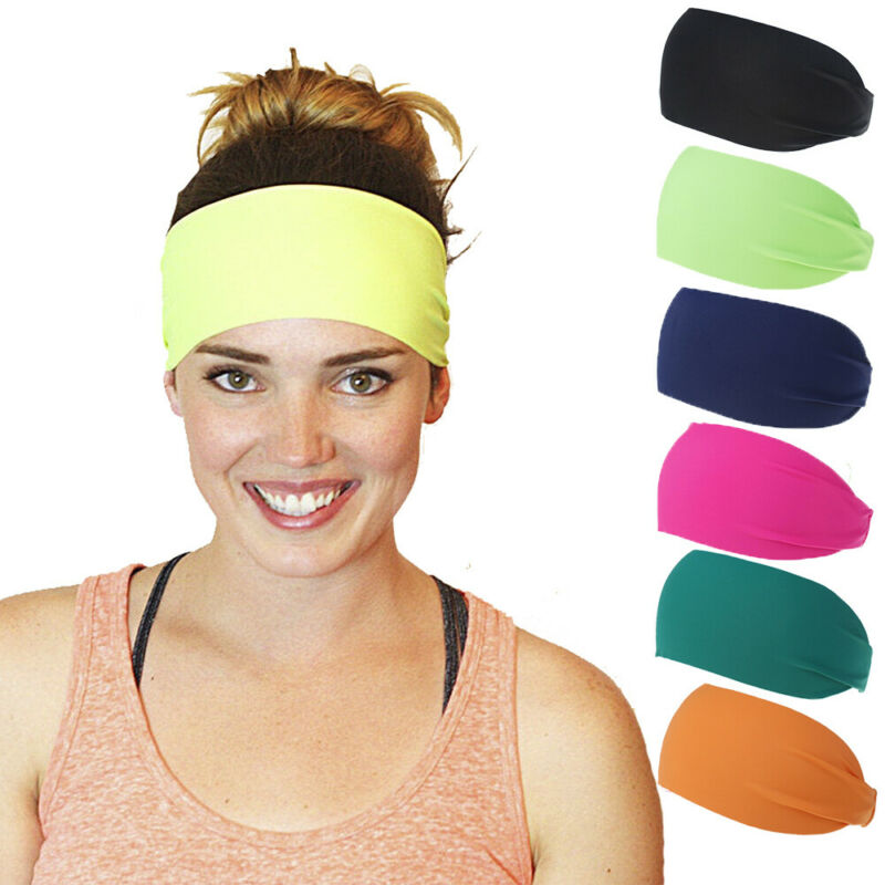 Men Women 2020 New Casual Sport Hair Band Elastic Wide Blend Yoga Hair Bands Exercise Unisex Headbands Sweatband Pure Color