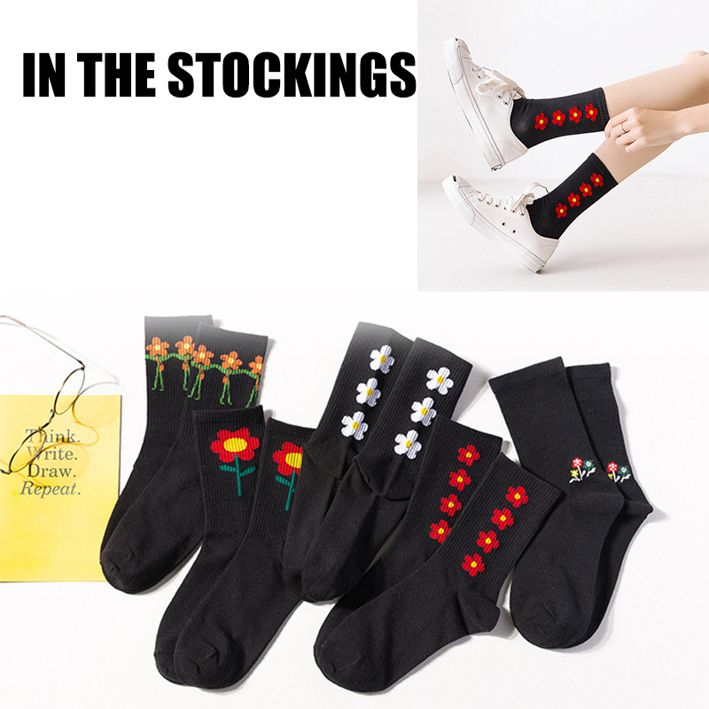 5 Pairs Womens Casual Ankle Socks Sport Cotton Blend Breathable Sock Cute Pattern K-BEST