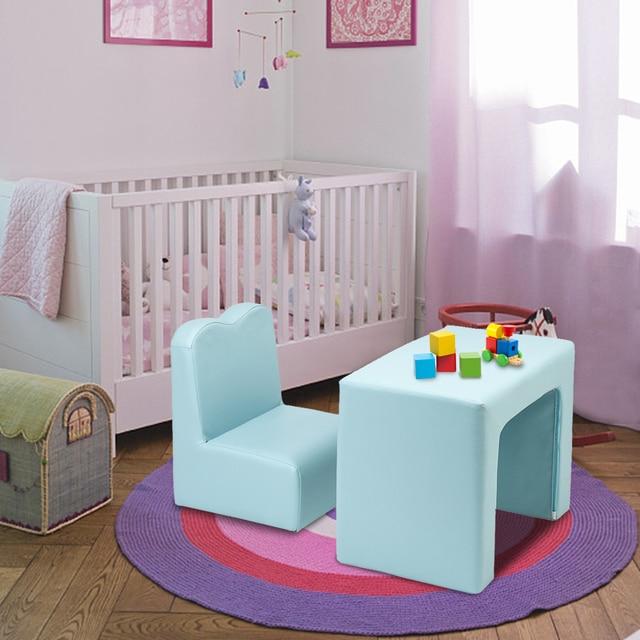 Children kIDS Comfortable Soft Sofa Baby Girl Boy Multi-Functional Sofa Desk Table+ Chair Seat 2 PCS Set Pink Blue 1