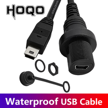 30cm מיני USB 2.0 IP67 עמיד למים כבל, מיני USB 5pin IP 67 זכר לנקבה פנל הר מים הוכחת מחבר הארכת כבל