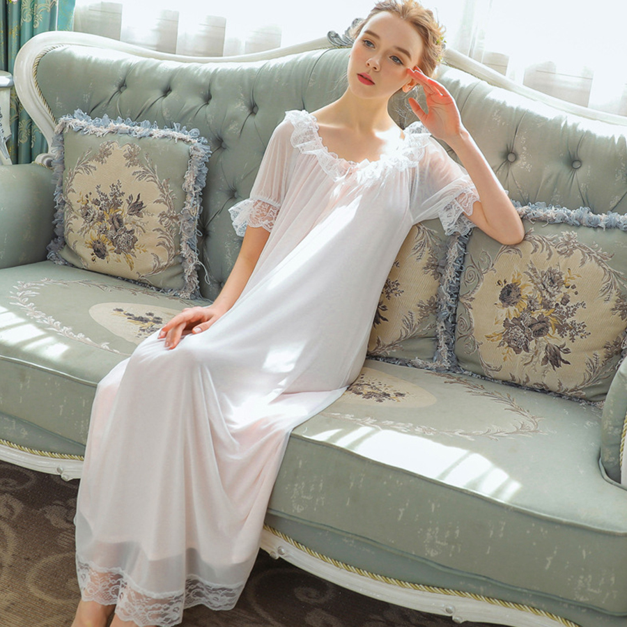 Sweet Girl Lace Mesh Modal Night Dress Women Short Sleeve Midi Dress Sleepwear Plus Size Loose Lingerie Long Nightgown