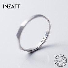 INZATT Настоящее серебро 925 проба кольцо с геометрическим отверстием для женщин вечерние модные ювелирные изделия минималистичные аксессуары подарок