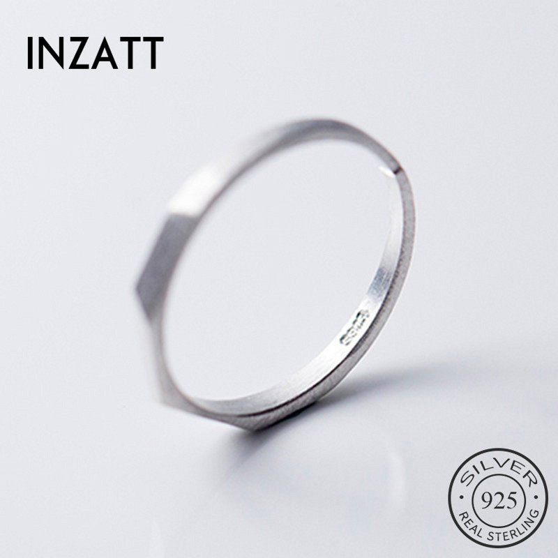 INZATT Real 925 Sterling Silver Geometric Opening Ring For Women Party Trendy Fine Jewelry Minimalist Accessories 2019 Gift