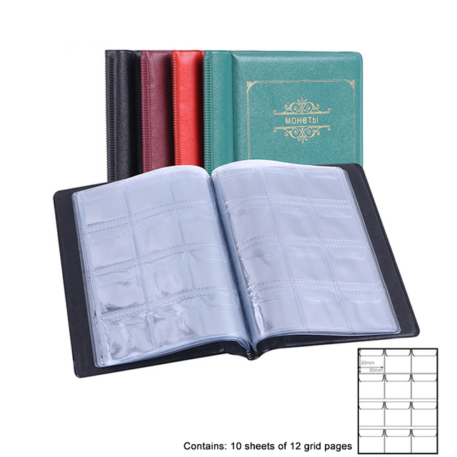 120 Sheets Coin Holder 4 Colors Coin Album Portable Album Coin Penny Money Storage Book Case Folder Holder Collection Collecting