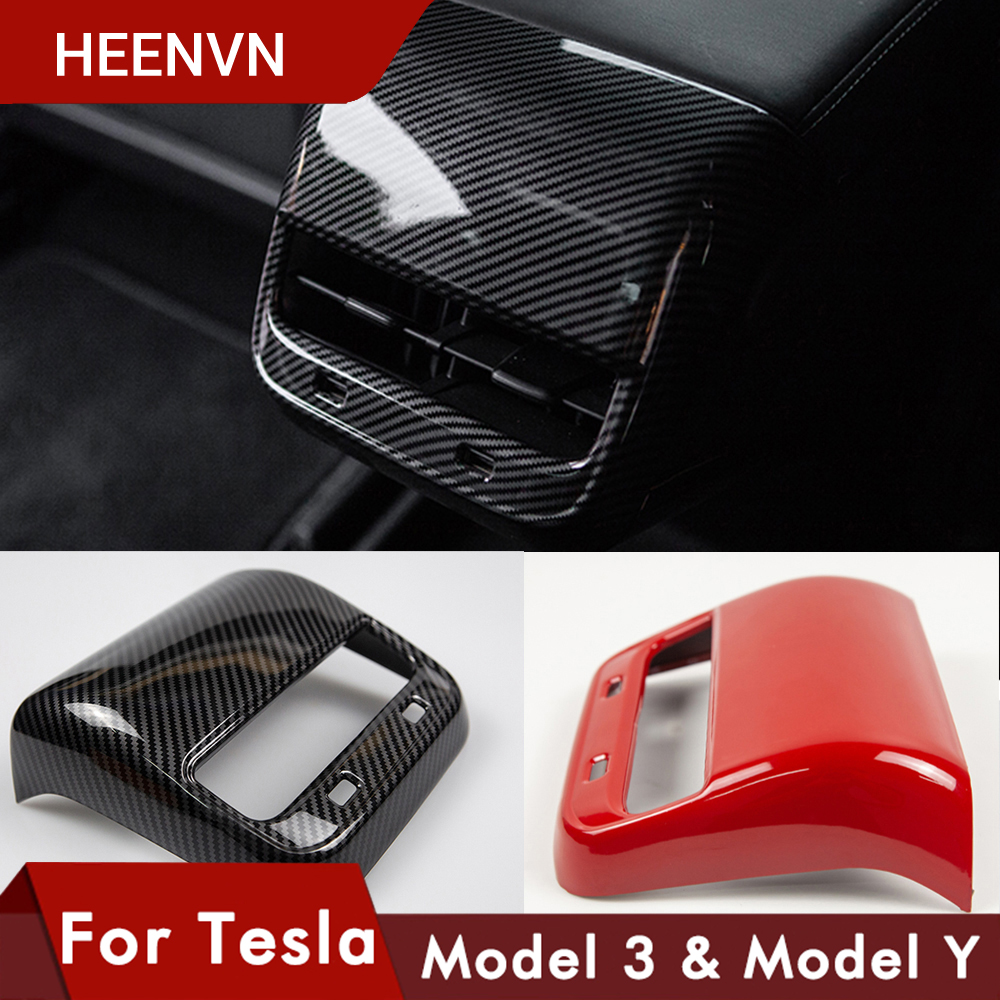 Heenvn ModelY Model3 Car Carbon Fiber ABS Rear Air Vent Outlet Cover Trim For Tesla Model 3 Accessories Interior Model Y Three
