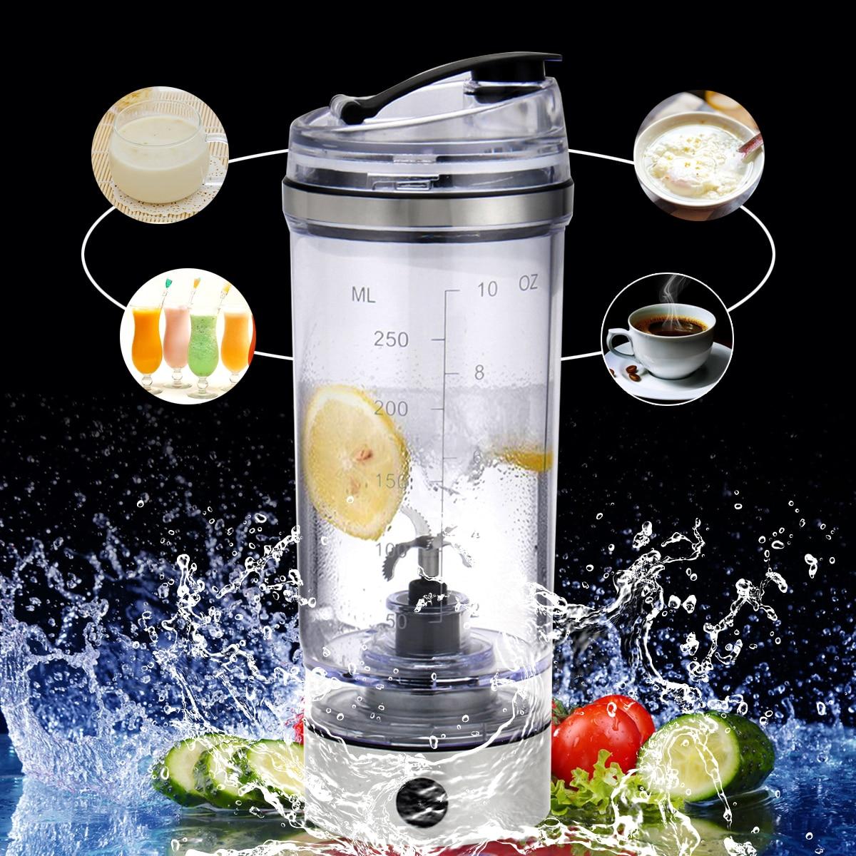 Hf638d7f82e764ffaabb9172af6342fafK 2019 250ML Electric Protein Shake Stirrer USB Shake Bottle Milk Coffee Blender Kettle Fitness Vortex Tornado Smart Mixer